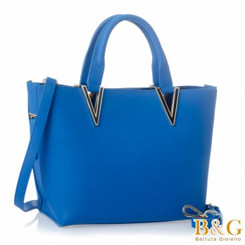 [B  G] Italian luxury leather V-Star Tote (Sapphire)