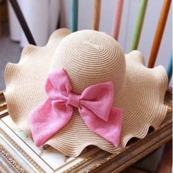 Beach hat straw hat bow wave edge romantic holiday hat female color 73eq44 [2] Milan boutique