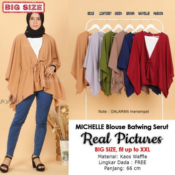 MICHELLE Blouse Batwing Jumbo Serut Kombinasi - Atasan Wanita Big Size fit up to XXL