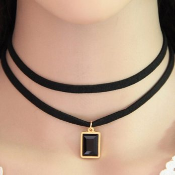 Kalung Choker Double Layer Black Square KN44679