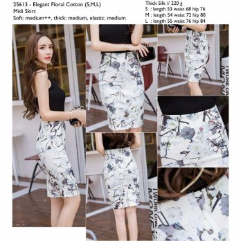 Elegant Floral Cotton (S,M,L) Midi Skirt -25613