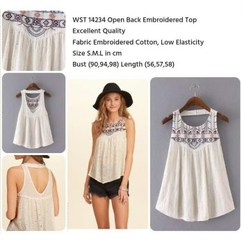 Open Back Embroidered Top (size S,M,L)-14234