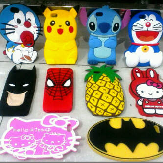 Case Silicone Rubber 3D Cartoon For Iphone 5 & 6 (Doraemon,Pikachu,Stitch,Pineapple,Batman,HK)