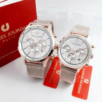 Jam Tangan Couple Charles Jourdan B1382 (Original) | Jam Tangan Couple / Rantai / Rubber