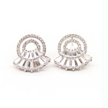 Alpha Lux Jewelry A15S Oval Zircon Clip Anting Wanita