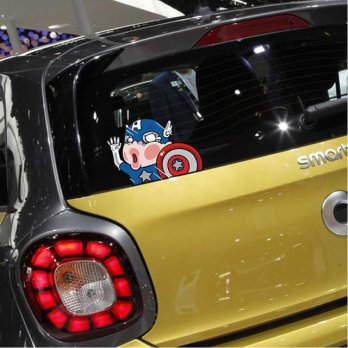 Stiker Mobil Captain America Tabrak Kaca Body Hit Glass Sticker Vinyl