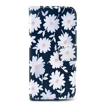 [holiczone] MODEFAN iphone 6 Leather Case,Smart Design Black Daisy Pattern PU Leather Wall/265070