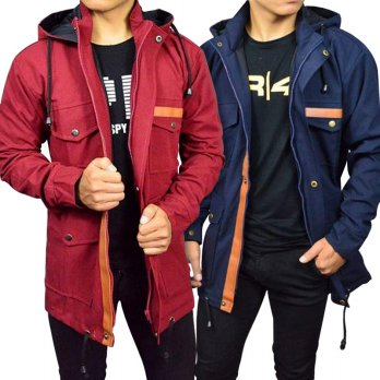 JAKET PRIA | JAKET BRANDED PRIA PARKA POCKET LEATHER BABY CANVAS PREMIUM HIGH QUALITY