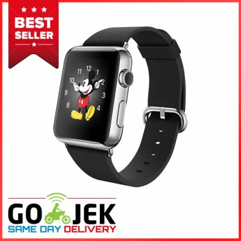 Apple Watch 2015 Stainless Classic Buckle 38mm Silver Case with Black Band - Garansi Resmi Apple