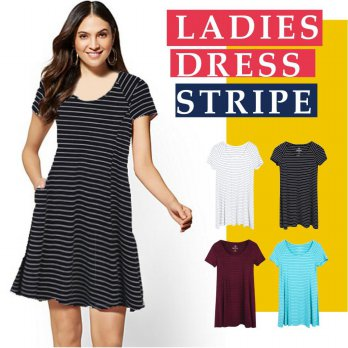 Ladies Short Sleeve Stripe Dress Available In 4 Colors