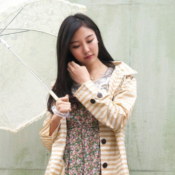 Women Rain Coat Trench Coat Wind Breaker / _ striped yellow raincoat (with pouch) 1607608