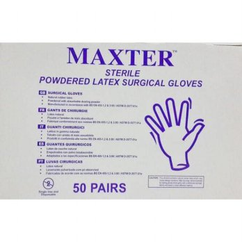 (Termurah) Sarung Tangan Steril  maxter sterile powdered latex surgical gloves