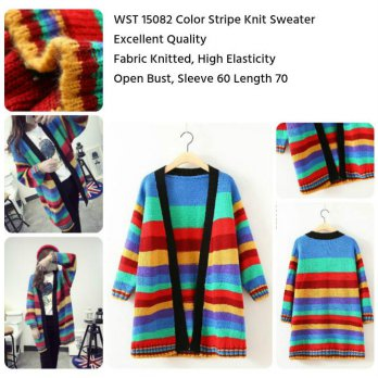 Color Stripe Knit Sweater -15082