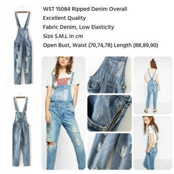 Ripped Denim Overall (size S,M,L)-15084