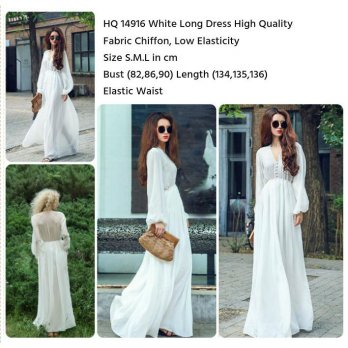 White Long Dress (size S,M,L)-14916