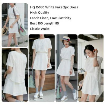 Terusan WAnita White Fake 2pc Dress -15030