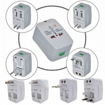 Steker Listrik Worldwide Konverter Outlet Multi Country Traveling Multi ke Multi Plug With Pouch