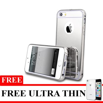 Bumper Mirror Untuk Iphone 5 / 5s - Silver - Free Softcase Ultrathin