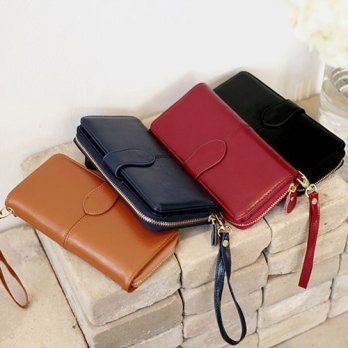 Korean Trendy Style Women Casual Pouch Bag Purse Wallet / Long simple leather hand strap (903) 2197