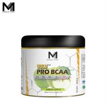 Muscle First Gold Pro BCAA 300 Grams Green Apple - g gr gram amino bpom bubuk fitness grape gym halal m1 musclefirst pom powder suplemen supplement