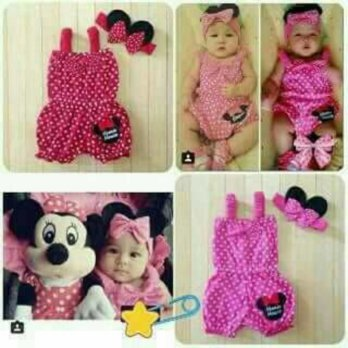 Jumper baby polka minnie mouse/ romper jumpsuit bayi po