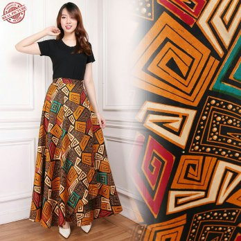 Cj collection Rok lilit batik payung panjang wanita jumbo long skirt Liza
