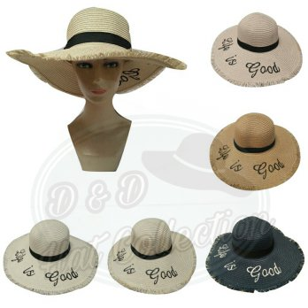Topi Pantai Jerami Lebar Import Rawis Bordir Life is Good Topi Fashion
