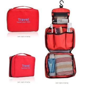 Travel Trace Cosmetic Bag/Toiletries Bag/Tas Penyimpanan Serbaguna RED