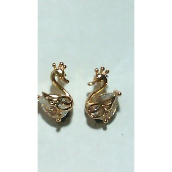Swan Earrings, Gold Plated