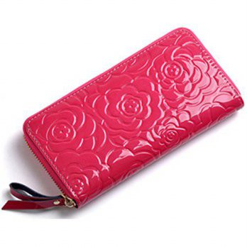 [Macyskorea] Womens, Long Wallet With Smartphone Storage, Rose Embossed, Patent Leather, / 11503763