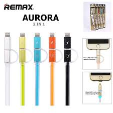 Remax Aurora Original 2in1 Apple Lightning and Mirco USB Fast Charge Data Cable with LED indicator