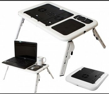 Meja Laptop Portable 2 fan cooler & USB cable portable