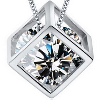 + Diamond pendant necklace 925 sterling silver necklace female box 73y54 Milan [Collectibles]