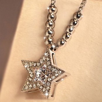 925 sterling silver necklace + diamond pendant necklace female stars of the ball 73y13 Milan [Collec
