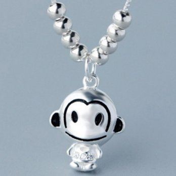 925 Silver Necklace + Silver Pendant necklace woman cute little monkey 73y76 [Milan] Gifts