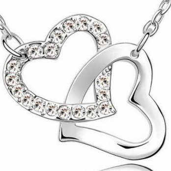 925 Silver Necklace + Heart to Heart diamond pendant necklace female literary 73y32 [Milan] Gifts