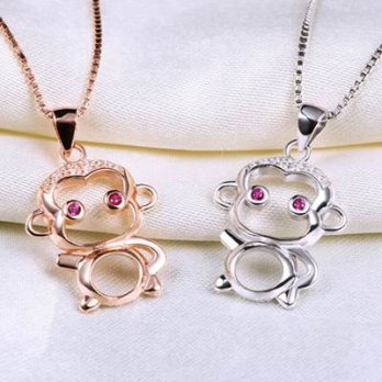 925 Silver Necklace + monkey pendant necklace simple and lovely female 73v68 [Milan] Gifts