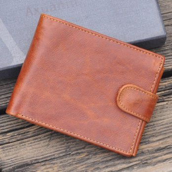 Short clip leather wallet leather wallet fashion simple wild male business 73ff24 [Milan] Gifts
