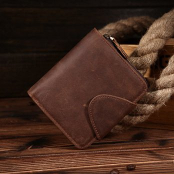 Crazy horse short clip wallet purse retro handsome male wild 73ff18 [Milan] Gifts