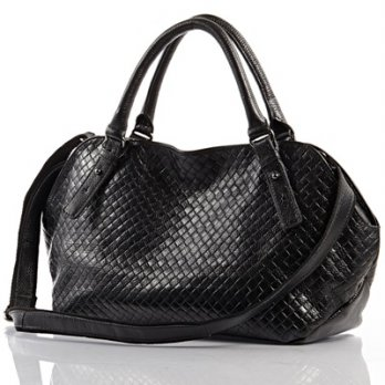 Leather handbag shoulder bag large capacity Plaid embossed leather female bag 3 colors 73ed9 Milan [