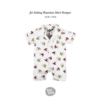 Hey Baby Jet Setting Hawaiian Romper Shirt - 6-12 bulan