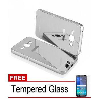 Bumper Mirror Untuk Samsung Galaxy J1 Ace - Silver - Free Tempered Glass
