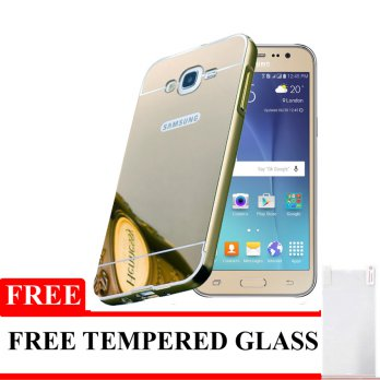 Bumper Mirror Untuk Samsung Galaxy J2 / J200 - Silver - Free Tempered Glass