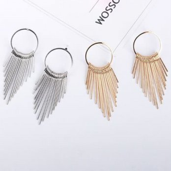 Oila anting fashion circle multilayer tassel earrings jan137