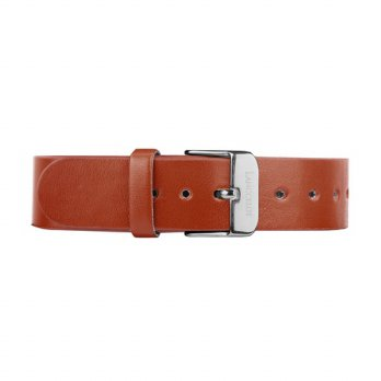 Lanccelot Strap 17mm Leather Plain Brown B Silver