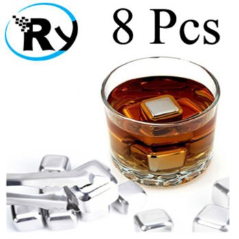 (Termurah) Es Batu Stainless Reusable Stainless Steel Ice Cube 8Pcs