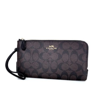 Authentic Coach Double Zip Wallet in Signature - Black