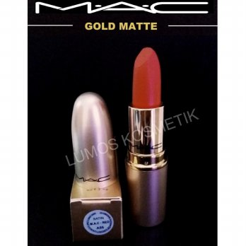 Mac Red Satin Lipstick Gold Matte Edition