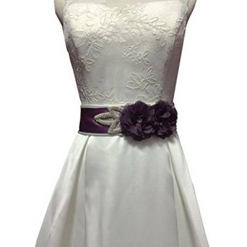 [macyskorea] Lemandy two chiffon flowers with crystals sash for dresses (Grape)/12352714