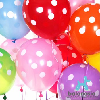 Balonasia Balon Latex Polkadot Mix 10 pcs (Warna Random)